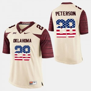 Mens OU Sooners #28 US Flag Fashion Adrian Peterson college Jersey - White