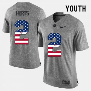 For Kids Alabama Roll Tide #2 US Flag Fashion Jalen Hurts college Jersey - Gray