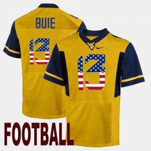 Men US Flag Fashion #13 West Virginia University Andrew Buie college Jersey - Gold