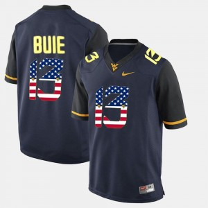 Mens US Flag Fashion #13 WV Andrew Buie college Jersey - Navy Blue
