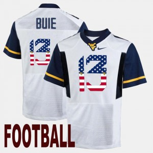 Men's #13 West Virginia University US Flag Fashion Andrew Buie college Jersey - White