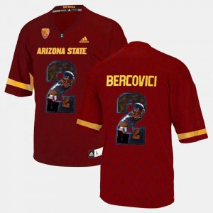 Mens Arizona State Sun Devils Player Pictorial #2 Mike Bercovici college Jersey - Red