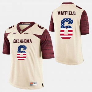 Men OU #6 US Flag Fashion Baker Mayfield college Jersey - White