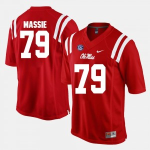 Men's Ole Miss Rebels Alumni Football Game #79 Bobby Massie college Jersey - Red