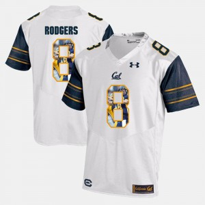 Men's Player Pictorial #8 Cal Golden Bears Aaron Rodgers college Jersey - White