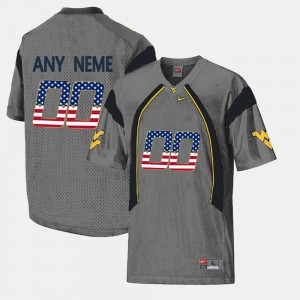 Mens #00 US Flag Fashion West Virginia college Customized Jersey - Grey