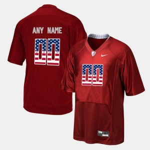Men #00 Bama US Flag Fashion college Customized Jersey - Red
