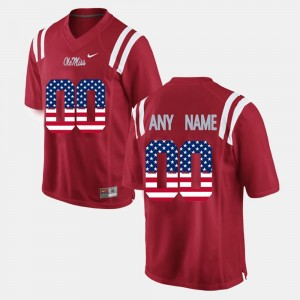 Men University of Mississippi US Flag Fashion #00 college Customized Jersey - Red