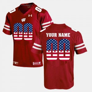 Men Badger #00 US Flag Fashion college Customized Jerseys - Red