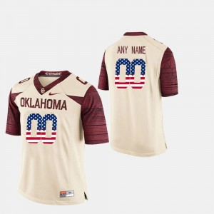 Mens #00 OU Sooners US Flag Fashion college Customized Jerseys - White