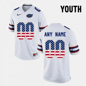 Youth(Kids) #00 UF US Flag Fashion college Customized Jersey - White