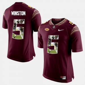 Mens Player Pictorial #5 Florida State Jameis Winston college Jersey - Red