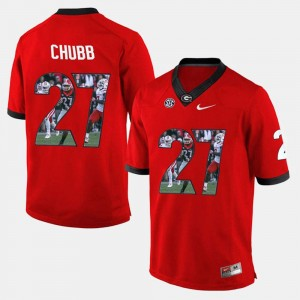 Mens UGA Player Pictorial #27 Nick Chubb college Jersey - Red