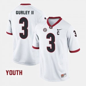 For Kids #3 Football Georgia Todd Gurley II college Jersey - White