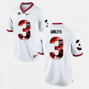 Men's #3 University of Georgia Player Pictorial Todd Gurley II college Jersey - White