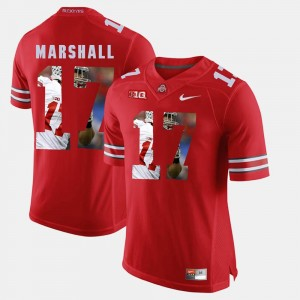 Men's Ohio State Pictorial Fashion #17 Jalin Marshall college Jersey - Scarlet