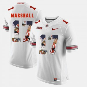 Men's Ohio State #17 Pictorial Fashion Jalin Marshall college Jersey - White