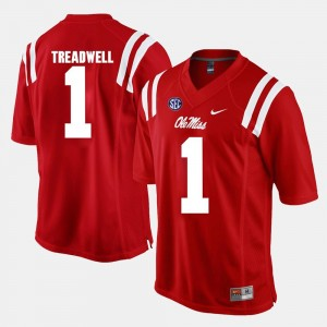 Mens Ole Miss #1 Alumni Football Game Laquon Treadwell college Jersey - Red