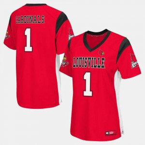 Women's UofL #1 Football college Jersey - Red