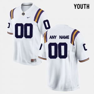 For Kids #00 college Customized Jersey - White Limited Football LSU Tigers
