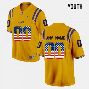 Youth(Kids) Louisiana State Tigers US Flag Fashion #00 college Custom Jersey - Gold