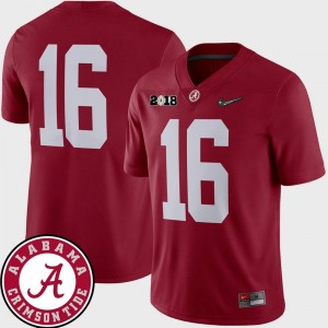 Men's Football #16 Roll Tide 2018 National Championship Playoff Game college Jersey - Crimson