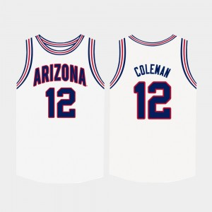 Men's #12 Wildcats Basketball Justin Coleman college Jersey - White