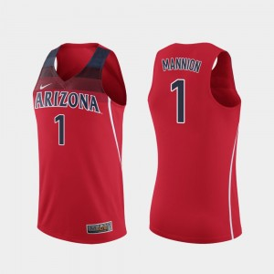 Men's Wildcats Basketball #1 Replica Nico Mannion college Jersey - Red
