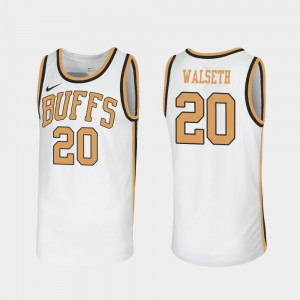 Men #20 Buffaloes #NAME? Throwback Sox Walseth college Jersey - White