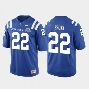 Mens 2018 Independence Bowl Football Game Duke University #22 Brittain Brown college Jersey - Royal