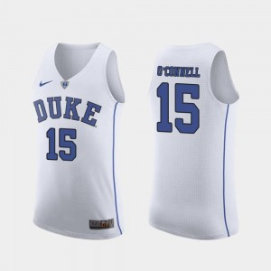 Men's March Madness Basketball #15 Duke Blue Devils Authentic Alex O'Connell college Jersey - White