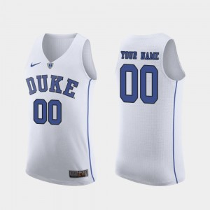 Men #00 March Madness Basketball Duke Blue Devils Authentic college Customized Jersey - White
