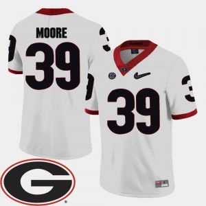 Mens University of Georgia Football 2018 SEC Patch #39 Corey Moore college Jersey - White