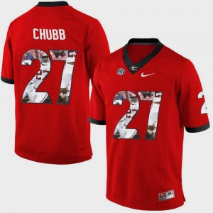 Mens Pictorial Fashion UGA Bulldogs #27 Nick Chubb college Jersey - Red
