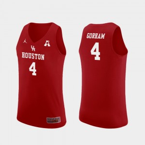 Men's #4 Replica UH Cougars Basketball Justin Gorham college Jersey - Red