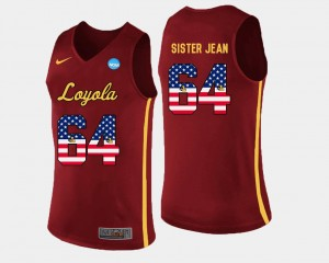 Mens Basketball Ramblers #64 US Flag Fashion Sister Jean college Jersey - Maroon