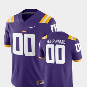 Men's Tigers Football #00 2018 Game college Customized Jersey - Purple