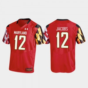 Men's Football #12 Maryland Replica Taivon Jacobs college Jersey - Red