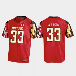 Mens Replica #33 Football Maryland Tre Watson college Jersey - Red