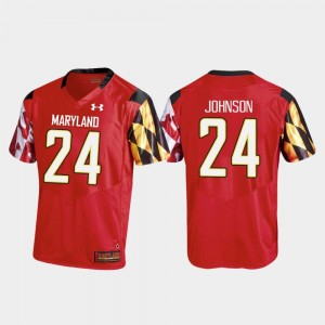 Men's #24 Football Replica Maryland Ty Johnson college Jersey - Red