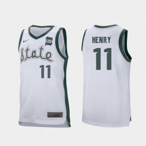 Mens 2019 Final-Four MSU #11 Retro Performance Aaron Henry college Jersey - White