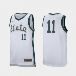 Men's Spartans Retro Performance #11 Basketball Aaron Henry college Jersey - White