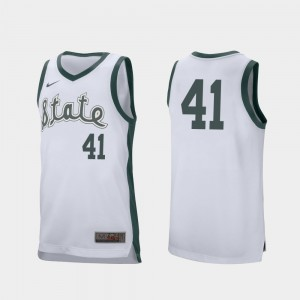 Men's Retro Performance Basketball #41 Spartans Conner George college Jersey - White
