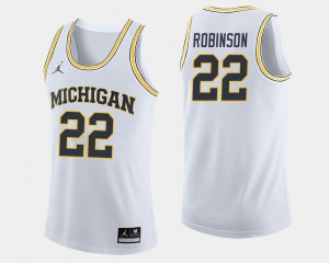 Mens Basketball #22 Michigan Wolverines Duncan Robinson college Jersey - White
