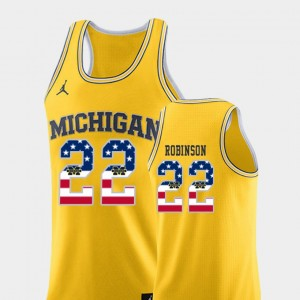 Men's USA Flag Basketball Wolverines #22 Duncan Robinson college Jersey - Yellow