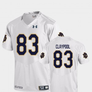 Men's ND Football #83 Replica Chase Claypool college Jersey - White