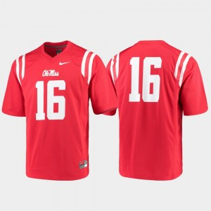 Men Football Ole Miss Game #16 college Jersey - Red