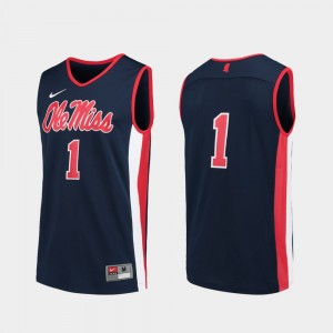 Mens #1 Basketball Replica Ole Miss college Jersey - Navy