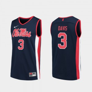 Men's Basketball #3 Replica Ole Miss Terence Davis college Jersey - Navy