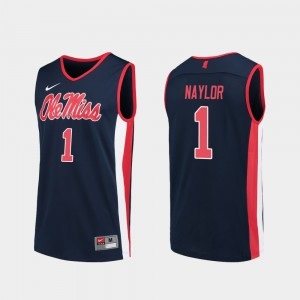 Mens Ole Miss Rebels Replica Basketball #1 Zach Naylor college Jersey - Navy